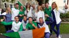 Olympic silver medallist Annalise Murphy with fellow athletes at the celebration in Dún Laoghaire. Photograph: Maxwell