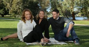 Vicki Buckley (left) with Irish husband and wife solicitor colleagues Leo Barry and Lindsay Ahern,  at Jackadder Lake in suburb of Woodlands in Perth. Photograph: Philip Gostelow