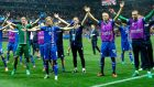 The Iceland players celebrate after they defeated England 2-1 in the Euro 2016 last 16 match in Nice. Photograph: Tibor Illyes/EPA