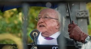 President Michael D Higgins speaking at the Beal na Blath commemoration, Co. Cork Pic Michael Mac Sweeney/Provision