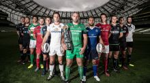 A member of each Guinness Pro12 team at the launch of this season's competition. Connacht captain John Muldoon (centre) will lead his team into battle on day one against Glasgow. Photograph: Dan Sheridan/inpho