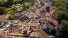 Aerial view of the damage in the village of Saletta in central Italy, where 22 of the 45 inhabitants died in Wednesday's earthquake. Photograph: AP Photo/Localteam