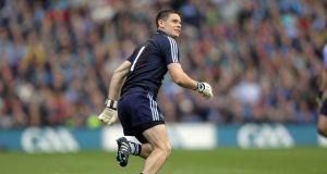Dublin's Stephen Cluxton kicks the winning point in the 2011 All-Ireland final. Photograph: Donall Farmer/Inpho