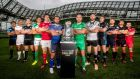 The 12 team captains at the launch of the 2015/16 Guinness Pro12 season. Photograph: Gary Carr/Inpho