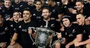 New Zealand's captain Kieran Read holds the Bledisloe cup at Westpac Stadium in Wellington. Photograph: Getty Images