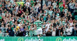 Celtic's Leigh Griffiths celebrates scoring his team's first goal of the match at Celtic Park. Photograph: Jane Barlow/PA