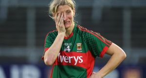 Mayo's Cora Staunton dejected at the end of last night's semi-final against Dublin. Staunton has played inter-county football for past 22 years. Photograph: Lorraine O'Sullivan/Inpho