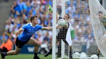 Stephen Cluxton and David Byrne of Dublin fail to stop Paul Geaney of Kerry scoring his side's second  goal in the All-Ireland SFC semi-final at Croke Park. Photograph:  Donall Farmer/Inpho