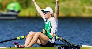 Paul O'Donovan celebrates winning gold at the World Lightweight Single Sculls final in Rotterdam on Saturday. Photograph: Herman Dingler/Inpho