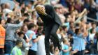 Manchester City manager Pep Guardiola reacts during the  Premier League  match  against West Ham United at the Etihad Stadium. Photograph: Peter Powell/EPA