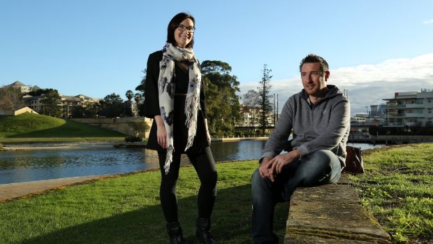 Annie Armitage and husband Antoine Maher at Claisebrook Cove, East Perth. Photograph: Philip Gostelow