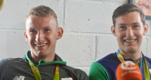 LISHEEN LADS: Olympic Silver medalists Gary and Paul O'Donovan during their homecoming at Skibbereen Rowing Club. Photograph: Michael Mac Sweeney/Provision
