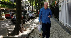 Former Olympic Committee of Ireland (OCI) president  Pat Hickey arrives at a residential building after leaving the Bangu Jails Complex in Rio de Janeiro, Brazil, August 30th, 2016. Photograph: Ricardo Moraes/Reuters