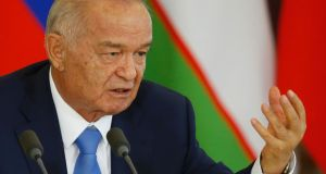 Uzbek president Islam Karimov is believed to have had a stroke. Some journalists citing reliable sources say he is dead and succession plans are secretly being made. Photograph: Maxim Shemetov/AFP/Getty Images