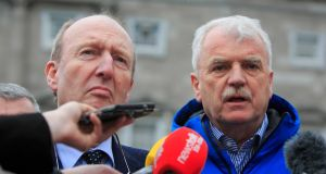 Members of the Independent Alliance Shane Ross and Finian McGrath. The group went into conclave, conspicuously unable to agree with the Fine Gael intention to appeal the commission's findings. Photograph: Gareth Chaney/Collins