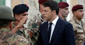 Italian prime minister Matteo Renzi arrives before  a funeral service in Amatrice for victims of the earthquake. Photograph:  Max Rossi/Reuters