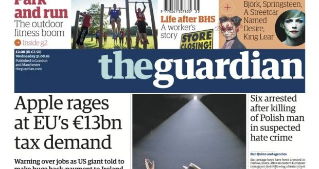 International media react to apple ruling the front page of the guardian on wednesday fandeluxe Image collections