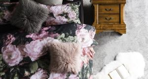 This dramatic floral double duvet set, €30, dresses a Chardonnay dark double bed frame, currently reduced from €549 to €469 at Harvey Norman (01-8909900, harveynorman.ie). Irish Times readers can buy the duvet set in-store less 10 per cent from September 1st to 4th. This offer is not available online.