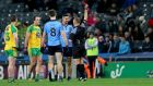 Dublin's James McCarthy is sent off by referee Conor Lane during this year's league game against Donegal. Photograph: Donall Farmer/Inpho
