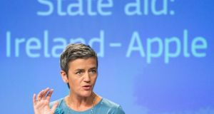 "European Commissioner for Competition Margrethe Vestager went out of her way on Tuesday to encourage other countries and the US to try to recoup the tax ""owed"" to Ireland. Photograph: Stephanie Lecocq/EPA"