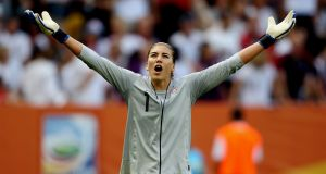 USA goalkeeper Hope Solo:  one of a quintet of high-profile stars who have filed a discrimination case against the USSF. Photograph:  Scott Heavey/Getty Images