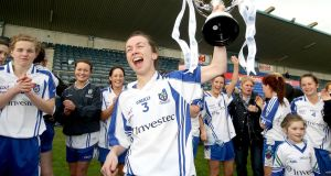 "Sharon Courtney after Monaghan beat Cork in the 2012 NFL Division One final. ""Our big motto since the start of this year has been about hard work."" Photograph: Inpho"