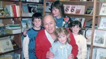 Roald Dahl in Kenny's Bookshop in Galway in 1987 with Monica Rigney and her children Mark, Claire and Laura
