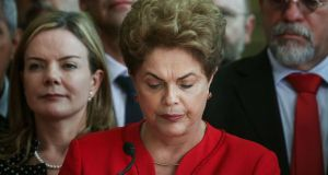 Impeached president Dilma Rousseff delivers her farewell address in Brasília on Wednesday. Photograph: Mario Tama/Getty Images