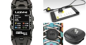 Lezyne Micro C Watch; Jabra Sport Pulse Special Edition Headphones; MilestonePod