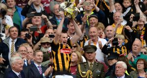 Joey Holden, Kilkenny captain lifts Liam McCarthy Cup after beating Galway, in the All-Ireland senior hurling final at Croke Park. Photograph: Dara Mac Dónaill/The Irish Times