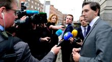Simon Harris speaking to reporters outside Lenister House Friday morning prior to the Cabinet meeting. 'While the people of Ireland are very pro-European, I don't think they take kindly to unelected bureaucrats telling us what to do here in this country in relation to our own business environment,' he said. Photograph: Cyril Byrne/The Irish Times
