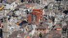An aerial view of Amatrice, central Italy, badly damaged by an earthquake.  Photograph: Alessandro Di Meo/ANSA