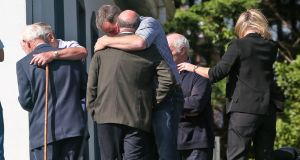 Mourners at the Lakelands Funeral Home in Cavan town where the remains of the Hawe family are reposing. Photograph: Colin Keegan/Collins Dublin