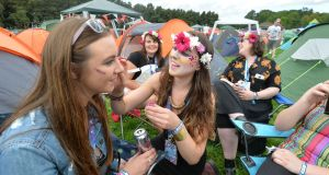 Helena Daly from Co Mayo, Emma Ryan from Co Sligo, Jessica Murphy from Co Clare, and Sarah Murphy from Co Cork at Electric Picnic. Photograph: Alan Betson/The Irish Times