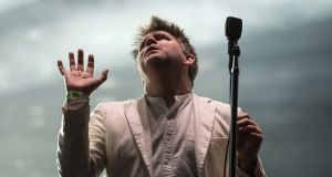 LCD Soundsystem's James Murphy performing on the main stage on Saturday night. Photograph: Dave Meehan
