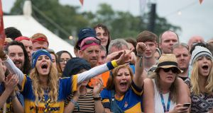 Kilkenny fans at Electric Picnic as Tipperary beat Kilkenny in the All-Ireland hurling final. Photograph: Dave Meehan/The Irish Times