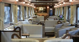 The lounge and bar of The Belmond Grand Hibernian at Hueston Station. Photograph: Cyril Byrne/The Irish Times