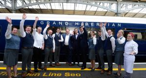 A staff photo with the The Belmond Grand Hibernian at Hueston Station. Photograph: Cyril Byrne/The Irish Times