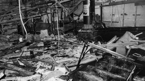 The interior of the Mulberry Bush public house in Birmingham after an IRA bomb attack in 1974. Photograph: Wesley/Keystone/Getty Images