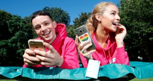 Snapchat superstar James Kavanagh and model Thalia Heffernan launch Bank of Ireland's 2016 FeelFree student reward programme with Snapchat. Photograph:  Conor McCabe