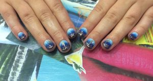 Niamh Towey's starry night nails at Tropical Popical
