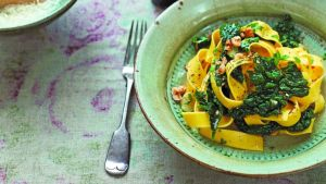Diana Henry's pappardelle with cavolo nero, chilli and hazelnuts, from her 10th cookbook, 'Simple'