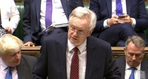 "British Secretary of State for Exiting the European Union David Davis: ""We will decide on our borders, our laws, and taxpayers' money. It means getting the best deal for Britain – one that is unique to Britain and not an 'off the shelf' solution."" Photograph: Justin Tallis/ AFP/Getty Images"