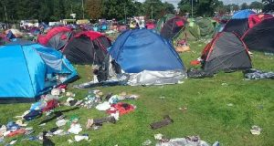 Screengrab from Jacket Off Your Back video showing hordes of abandoned tents and other  waste in the aftermath of Electric Picnic last weekend.