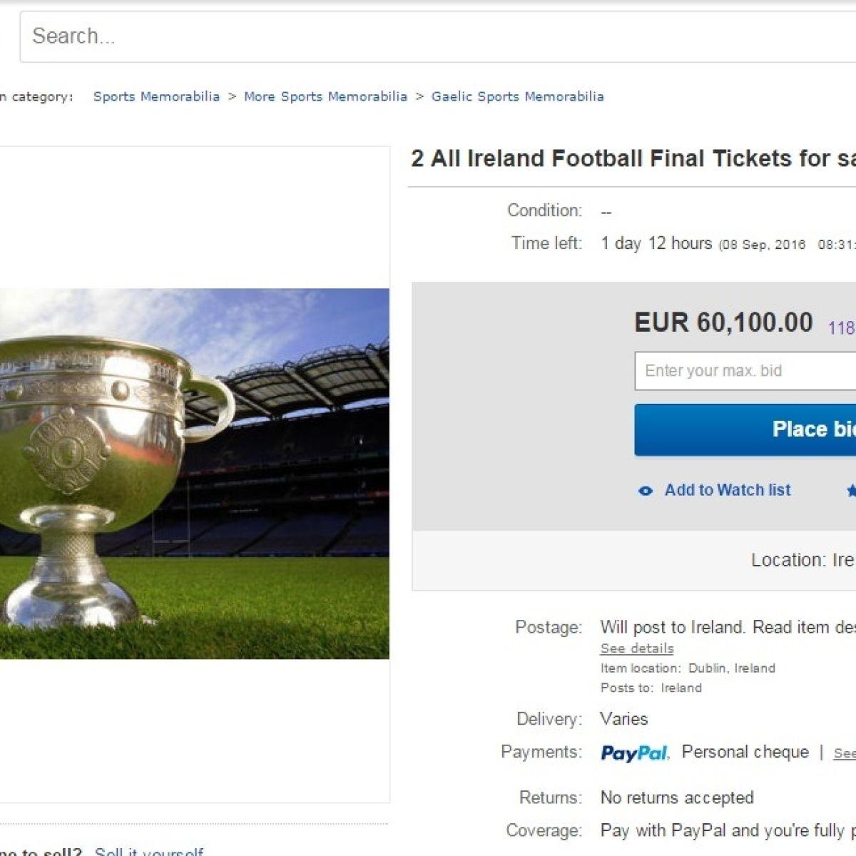 Two All-Ireland football tickets reach '€74,000' on eBay