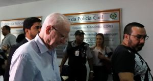Pat Hickey at a police station in Rio de Janeiro, Brazil, on Tuesday afternoon. Photograph: Ricardo Moraes/Reuters