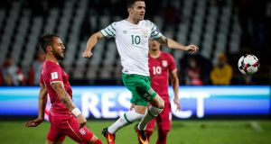 Robbie Brady's set-pieces were Ireland's most potent weapon in Serbia on Monday night. Photograph: Getty