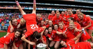 Head over heels: Hannah Looney celebrates Cork's victory in last year's All-Ireland camogie final. Photograph: Eric Luke/The Irish Times