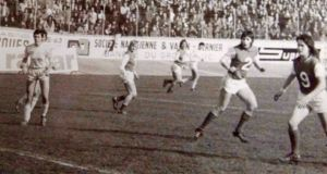 Anne O'Brien (pictured right, wearing the number nine) scoring one of her three goals in the 1975 French Cup Final. Photograph: Tony O'Brien