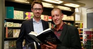 Irish Times journalist Ruadhán Mac Cormaic at the launch of The Supreme Court with Diarmaid Ferriter, professor of modern Irish history at UCD, last night. It is the first book about the Supreme Court since the foundation of the State. Photograph Nick Bradshaw.